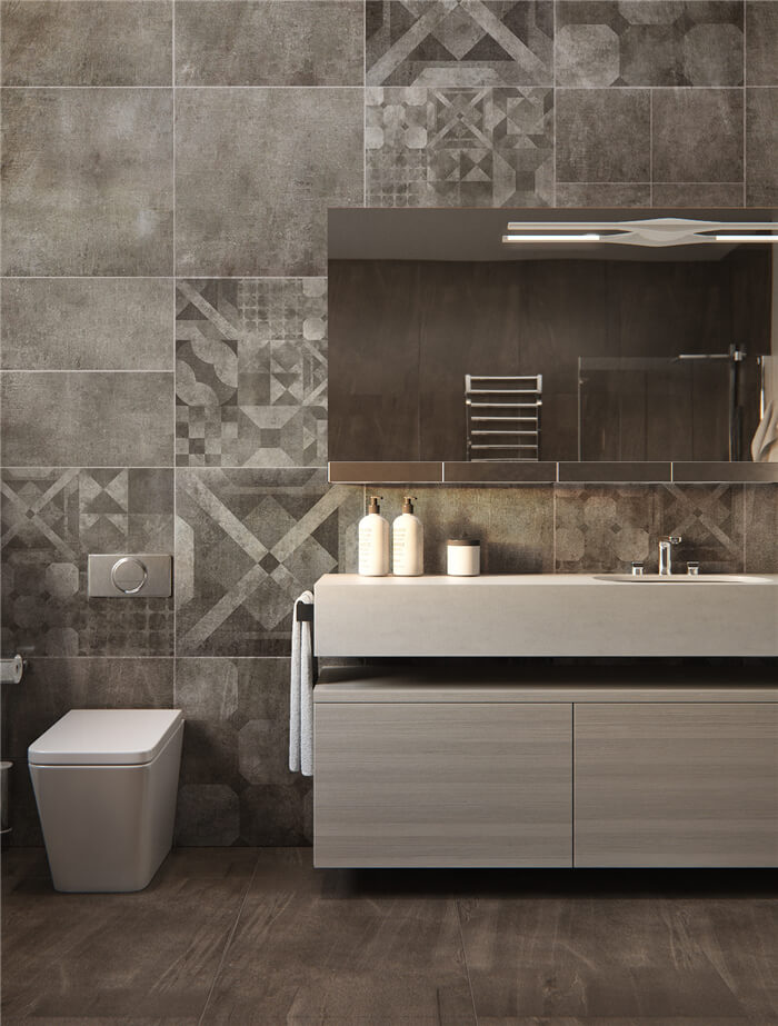 a distinctive bathroom design with concrete look wall tiles that look postmodern style.jpg