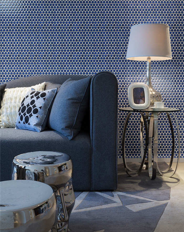 deep blue penny round mosaic tile used on living room backsplash wall.jpg