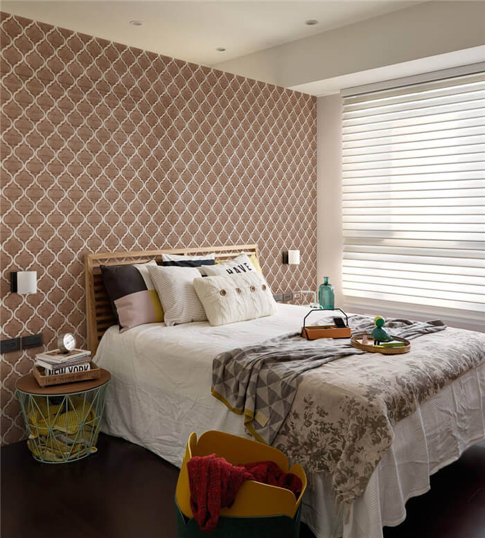 warm bedroom lantern mosaic tile backsplash.jpg