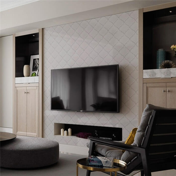 living room using cream arabesque tile for wall decoration.jpg