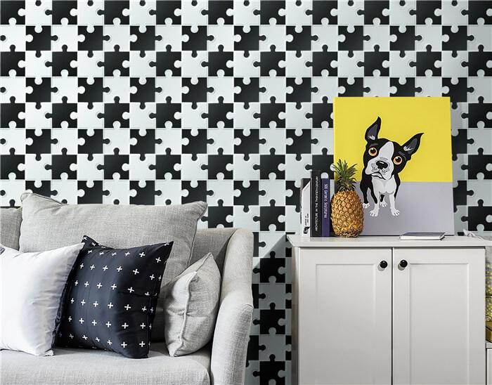 living room using black and white puzzle design mosaic tile.jpg