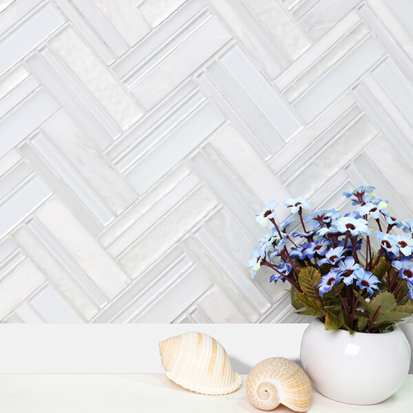elegant white glass mixed stone herringbone mosaic tile.jpg