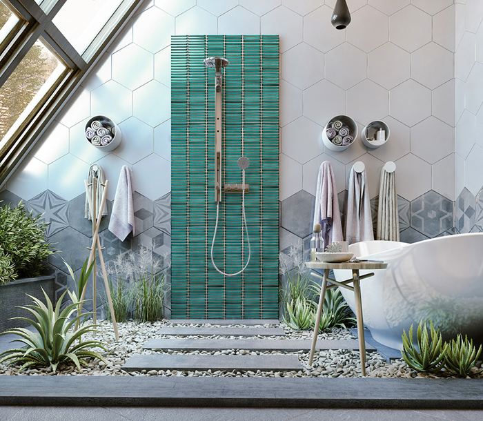 Turquoise Green Finger Stackbone Strip Tile for shower featured wall.jpg