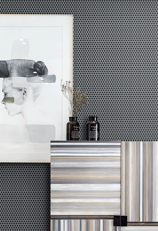 black white nordic style living space with black penny round mosaic tile.jpg