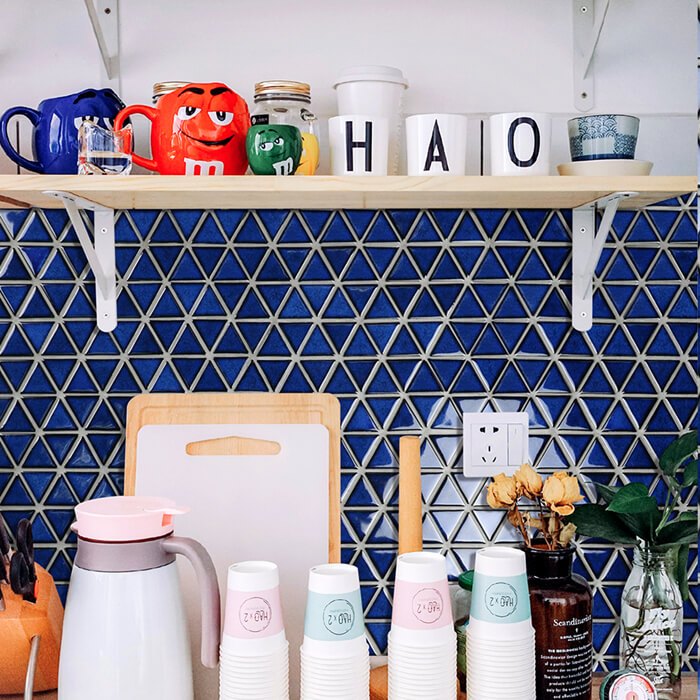 cobalt blue small triangle mosaic tile backsplash.jpg