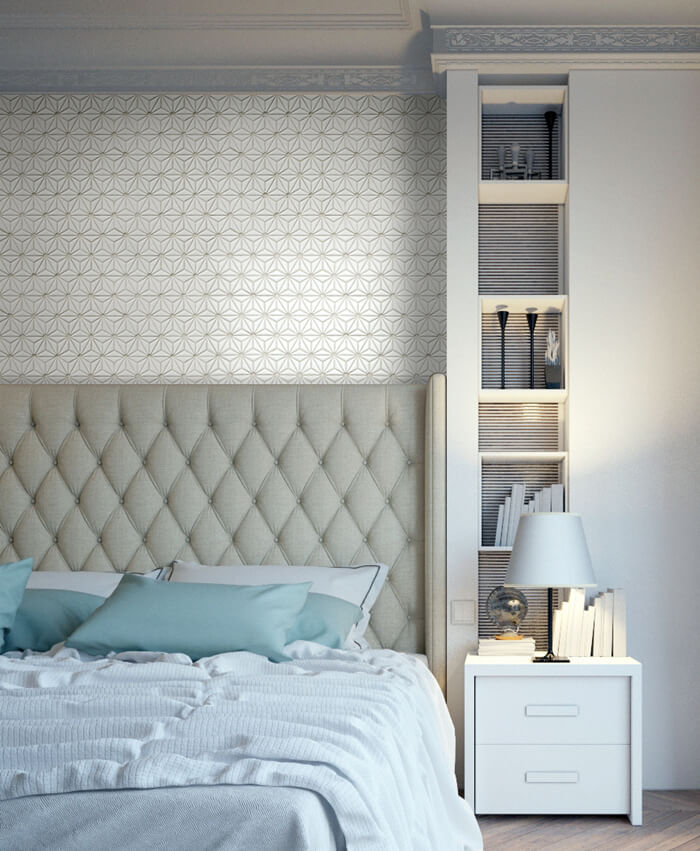 white colored floral pattern headboard mosaic tile.jpg
