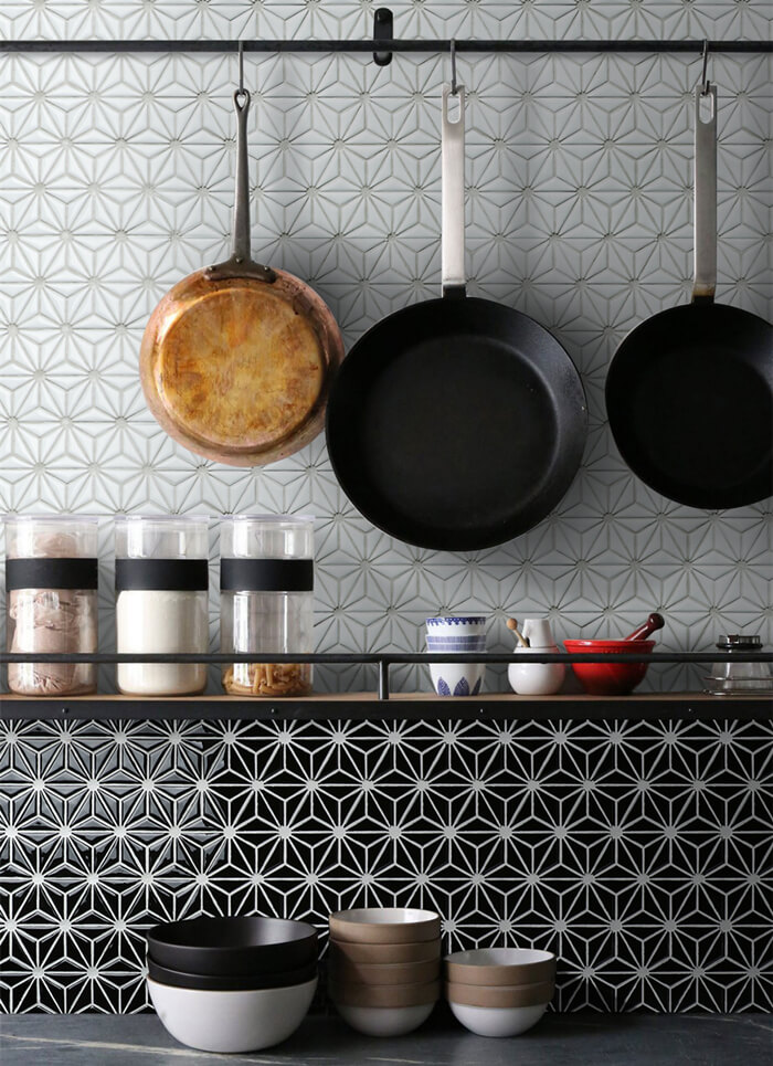 neat kitchen backsplash design with black white triangle mosaic tiles.jpg