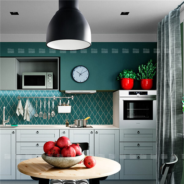 glazed shield shape porcelain mosaic in kitchen
