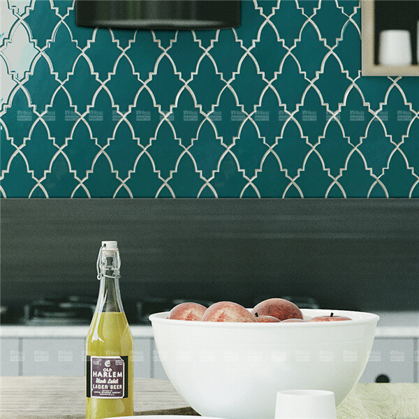 glazed shield shape porcelain mosaic used in kitchen