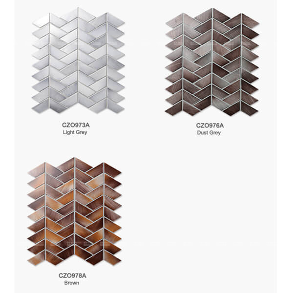 color options of hand-crafted trapezium porcelain mosaic