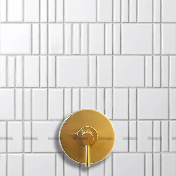 Small white porcelain mosaic tile used as shower wall tiles