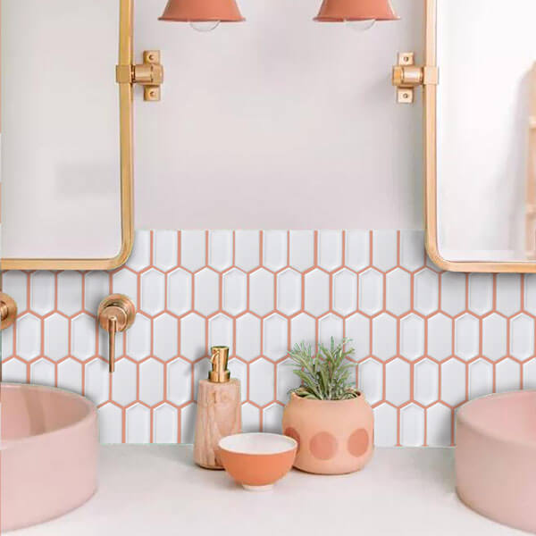 pink tone bathroom mosaic