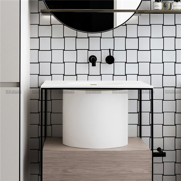 white rectangle mosaic tile in bathroom