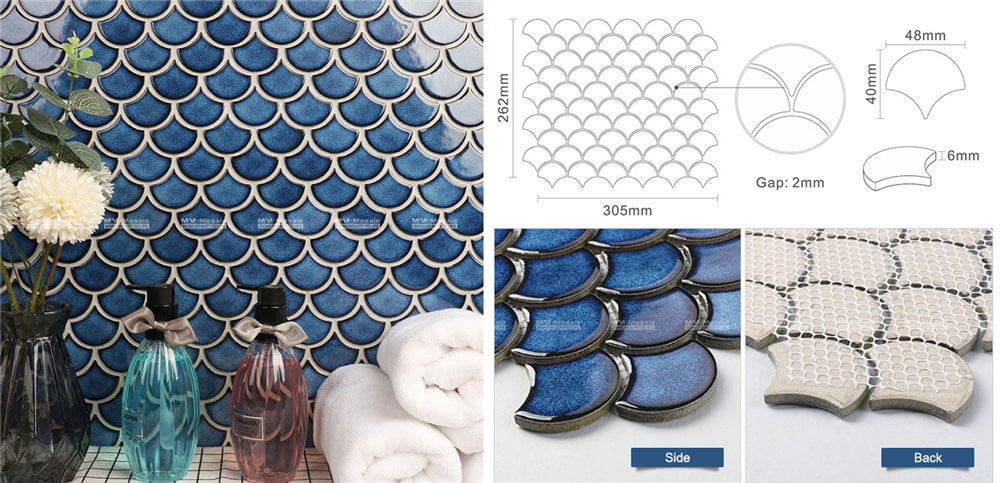 white fish scale tile for wholesale