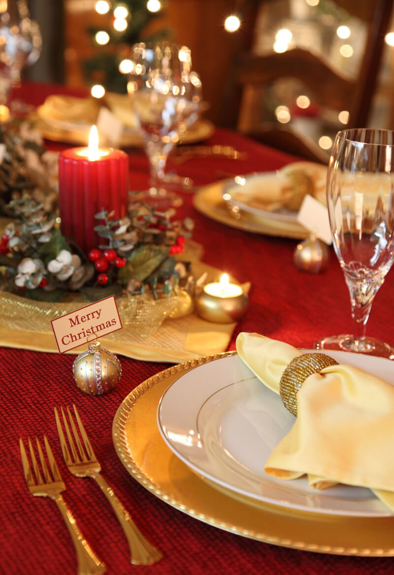 red and gold christmas decors