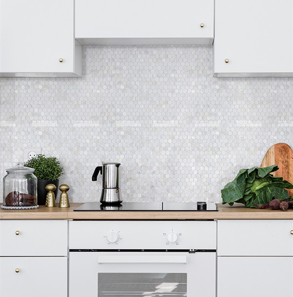 white hexagon pearl shell tiles for clean kitchen backsplash ZOE4904.jpg