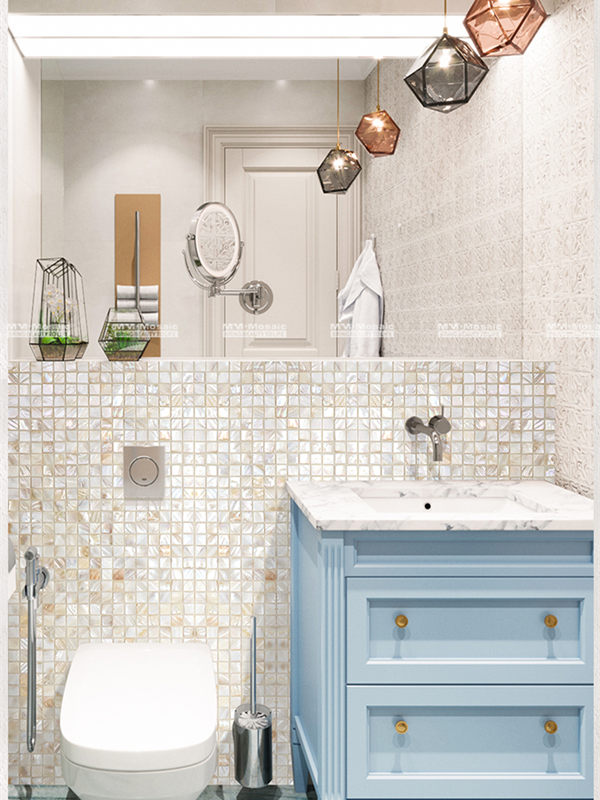 beige pearl square tile for tiny bathroom wall EOE4902.jpg