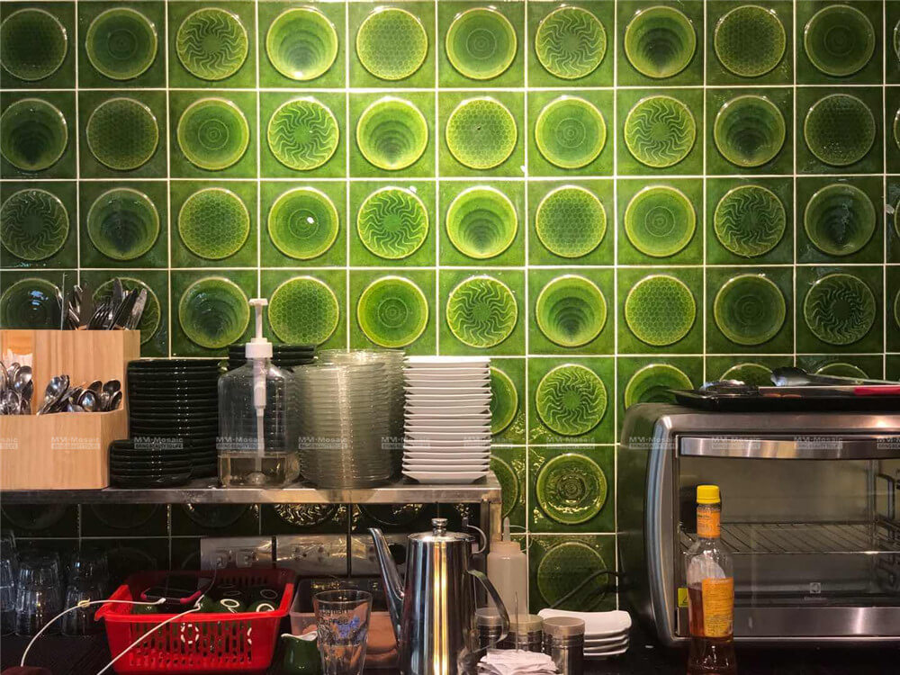 green mosaic tile backsplash