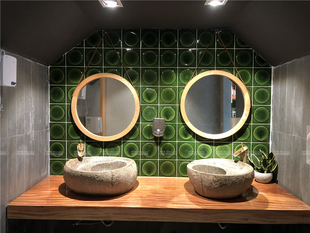 bathroom walls with green glazed handmade tiles