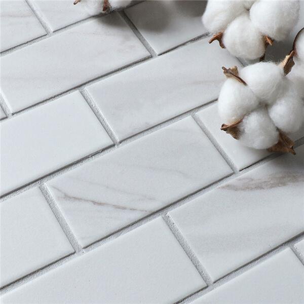 "2""x4"" Carrara Porcelain Mosaic Tile That Looks Like Marble"