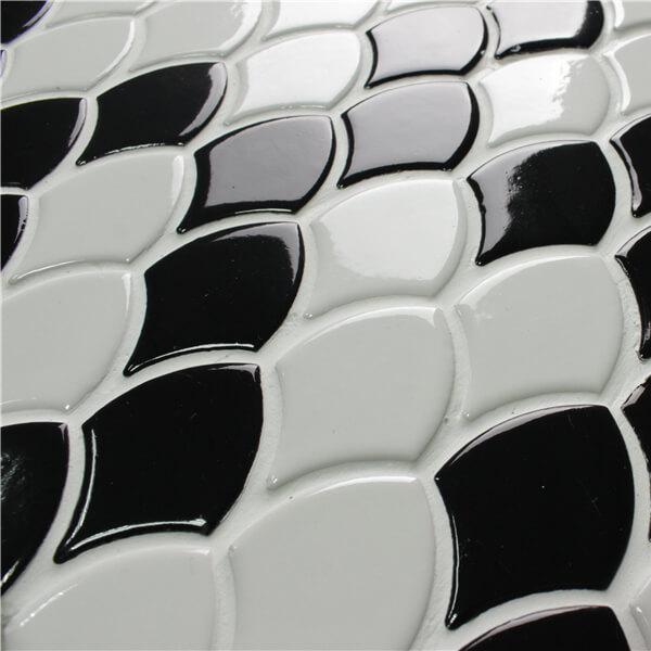 Wholesale Black White Porcelain Ceramic Fish Scale Fan