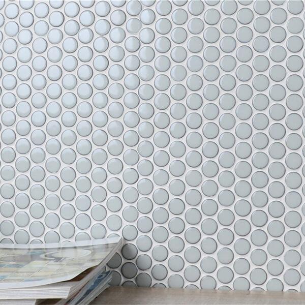 Light Blue Crystal Glazed Urban Penny Round Mosaic Tile Sheets
