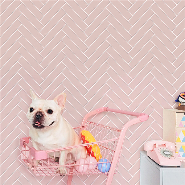 Strip Glazed Matte Pink Porcelain Tile Herringbone Mosaic