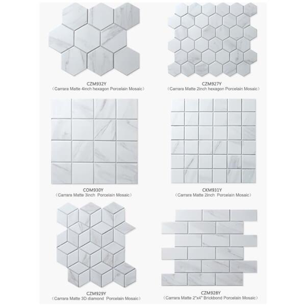 "2"" White Carrara Porcelain Mosaic Tile That Looks Like"